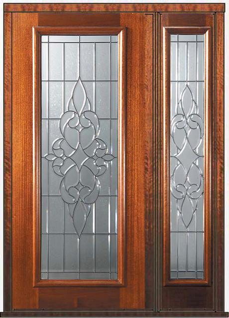 Prehung side light door 80 wood mahogany courtlandt full for Full window exterior door