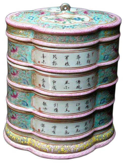 Porcelain Round Shape Blue White Stack Candy Box