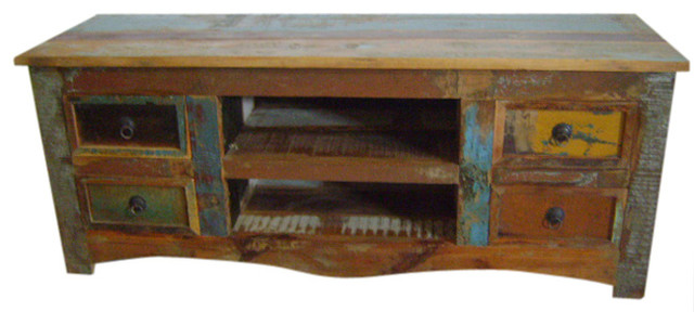 Recycled Boat Wood Tv Unit With Doors