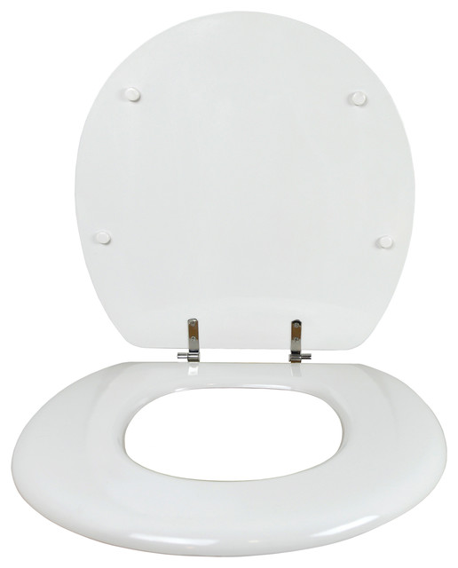 Big Throne Standard Closed Front Toilet Seat With Cover White Transitional