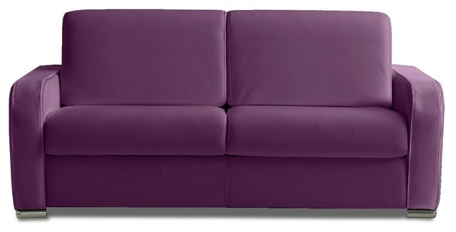 rapido sofia 160 cm cuir vachette violet lattes lampolet matelas bultex contemporain canap. Black Bedroom Furniture Sets. Home Design Ideas