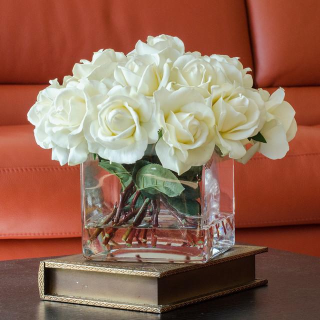 Flower Arrangements For Home Decor: White Real Touch Roses Faux Arrangement & Centerpiece For