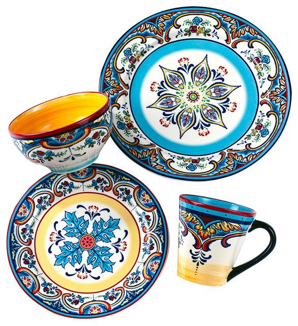 Mediterranean Style Dinnerware: 16-Piece Zanzibar Dinnerware Set