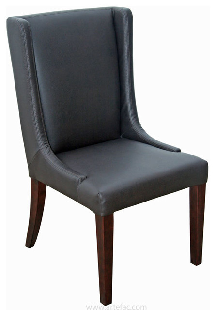 Wing back leather dining room chair brown dining chairs for Wing back dining chairs