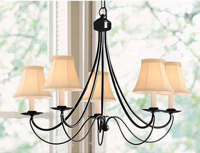 Black Iron 5 light Chandelier Contemporary Chandeliers