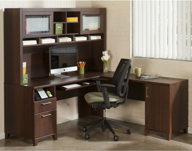 Bush Office Connect Achieve L-Shaped Desk with Hutch - Sweet Cherry ...