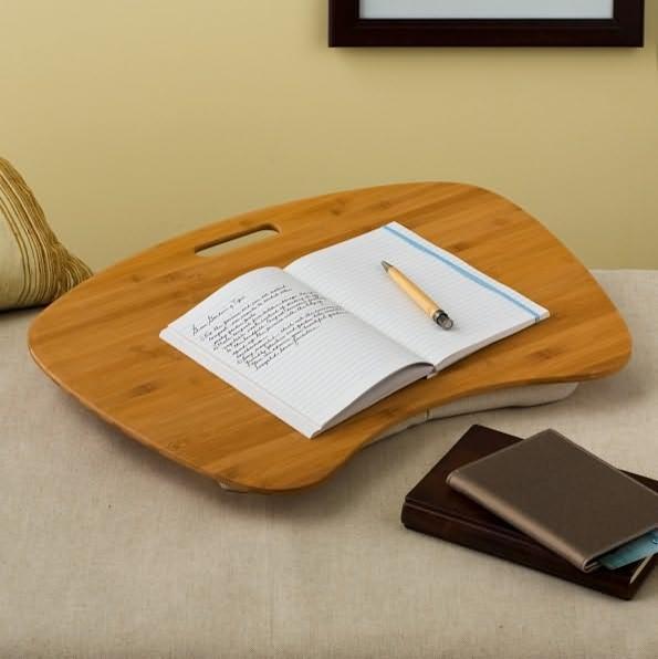 Bamboo Wood Contour Lap Desk With Cotton Hopsack Pillow