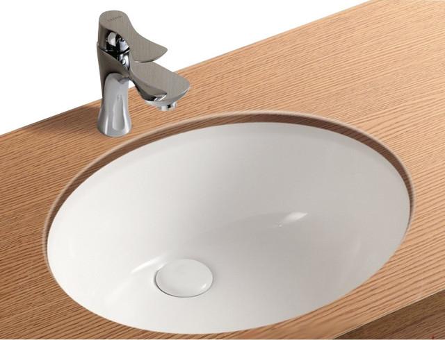 Oval White Ceramic Undermount Bathroom Sink Contemporary Bathroom Sinks By Thebathoutlet