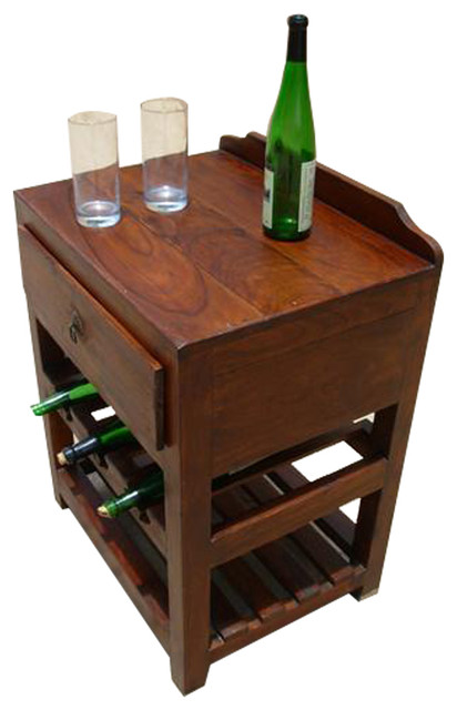 Wood Wine Rack Liquor Storage Drawer Shelves Side Table ...