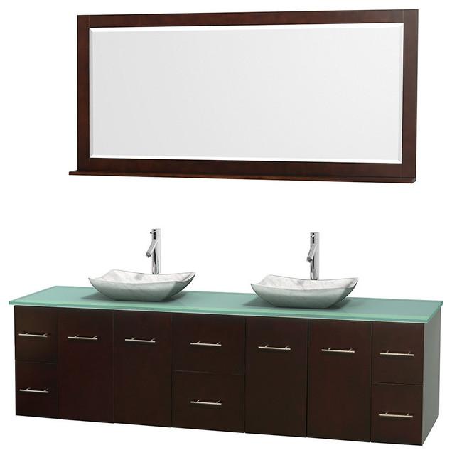 Double Bathroom Vanity Green Glass Countertop  Mirror Contemporary Bathroom
