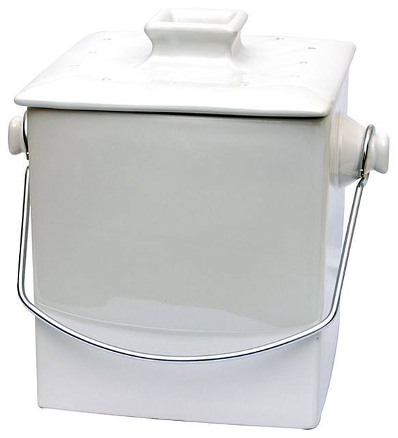 Le chef french white ceramic square 1 5 gallon compost for Ceramic bathroom bin