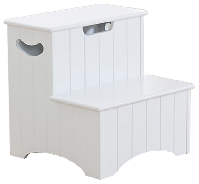 Khome White Finish Wood Bedroom Step Stool With Storage And Handles Transitional Ladders And