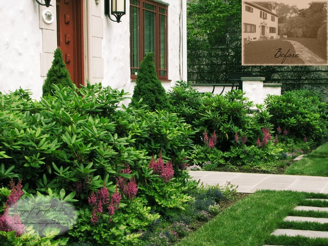 Front yard landscaping project in ny traditional for Low maintenance foundation shrubs