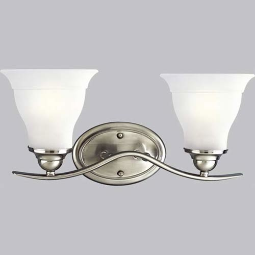 P319109: Trinity Brushed Nickel TwoLight Bath Fixture  Modern  Bathroom Vanity Lighting  by