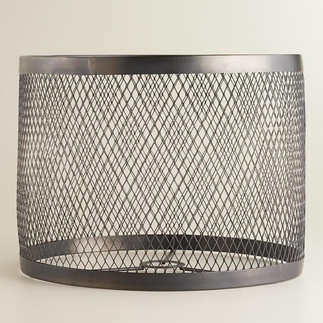 industrial riveted table lamp shade metallic metal. Black Bedroom Furniture Sets. Home Design Ideas