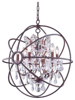 Foucaults Orb Crystal 6-Light Chandelier, Iron Rust