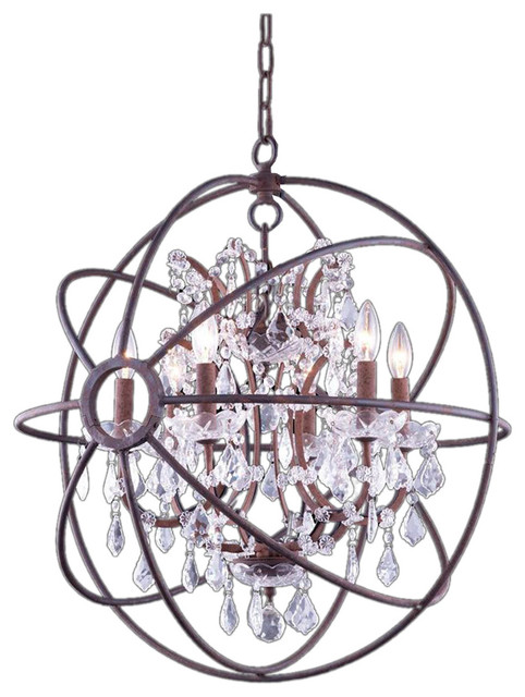 Foucaults Iron Orb Crystal Chandelier Rust