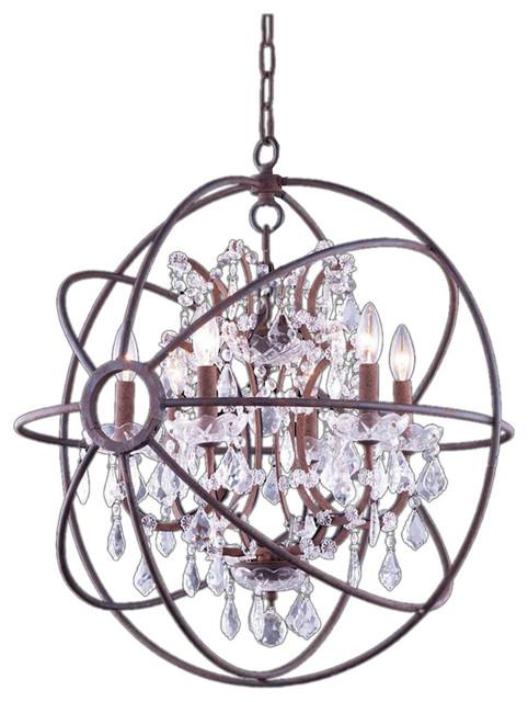 Foucaults Orb Crystal Chandelier Iron Rust Finish Six Light Iron Medium Size Traditional