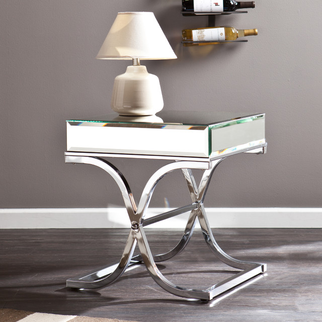 Upton Home Annabelle Chrome Mirrored Side End Table Contemporary Side Tables End Tables