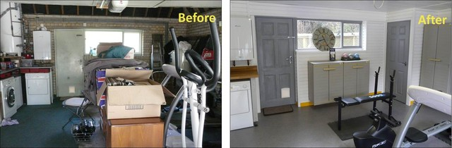 Before and after of a home gym in surrey by garageflex