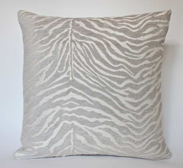 Grey Zebra Print Pillow Contemporary New York By The