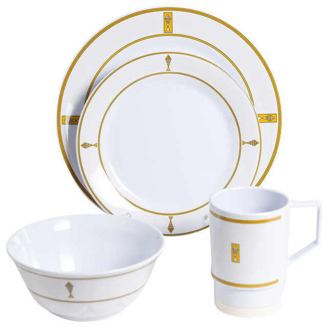 Galleyware Gold Fish Melamine 16-Piece Dinnerware Gift Set traditional ...