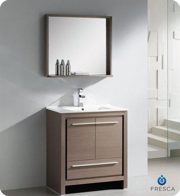 Oak Modern Bathroom Vanity With Mirror Contemporary Bathroom Mirrors