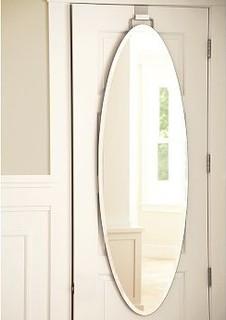 Over The Door Mirror Oval Traditional Bathroom