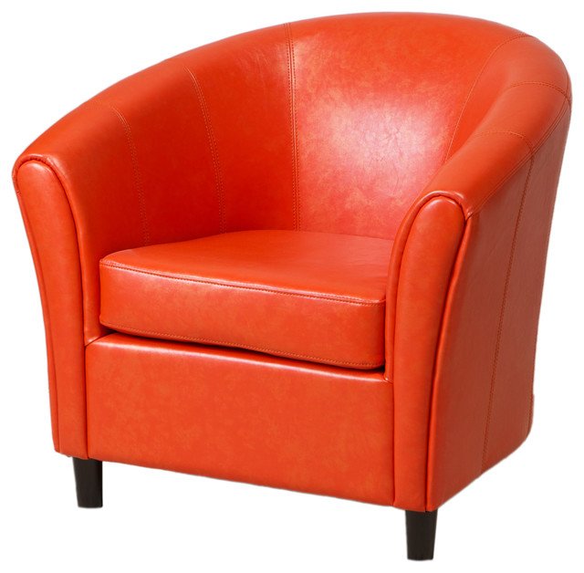 Newport Leather Club Chair Orange Contemporary