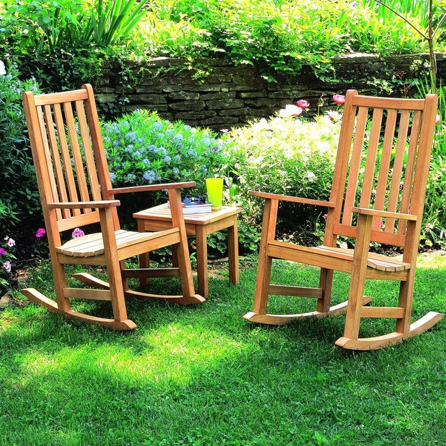 Oxford Garden Franklin 2 Person Wood Rocking Chair Patio Set Modern Outdo