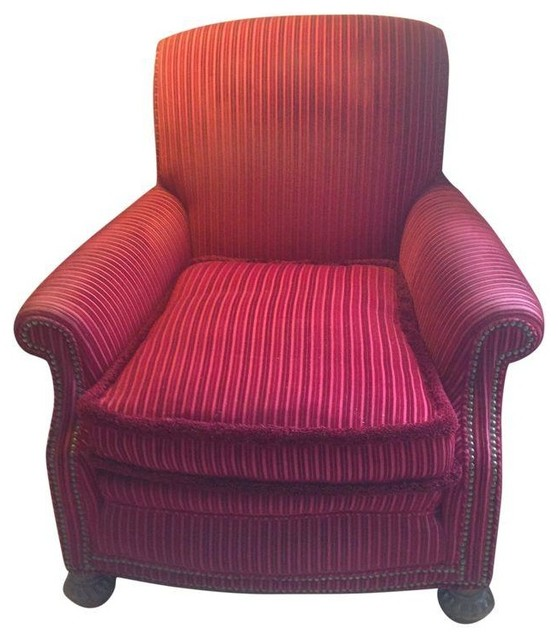 Striped Velvet Upholstered Armchair - Traditional ...