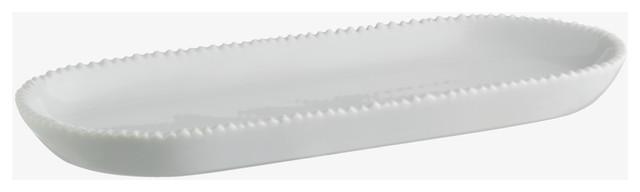 Zigzag white porcelain bathroom tray contemporary for White ceramic bathroom tray