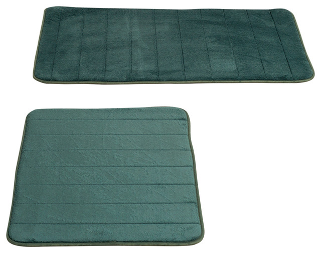 2-Piece Memory Foam Striped Bath Mat Set, Green - Transitional - Bath Mats - by Trademark Global
