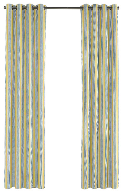 Teal And Yellow Stripe Grommet Curtain Single Panel Contemporary Curtains By Loom Decor