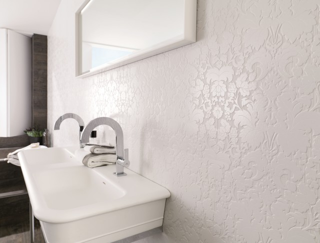 Patterned Feature Tiles Bluebell White Contemporary Bathroom Perth By Ceramo Tiles