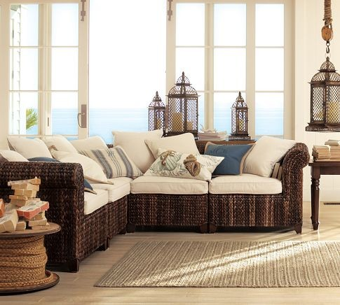 Seagrass Five Piece Sectional Tropical Sectional Sofas By Pottery Barn
