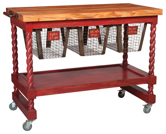 Red Rolling Butcher Block 36 X48 Traditional Kitchen Islands And Kitchen Carts By