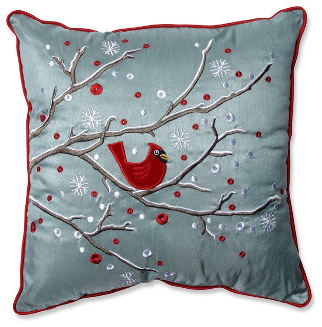 Holiday Cardinal on Snowy Branch Throw Pillow - Rustic - Decorative Pillows - by Pillow Perfect Inc