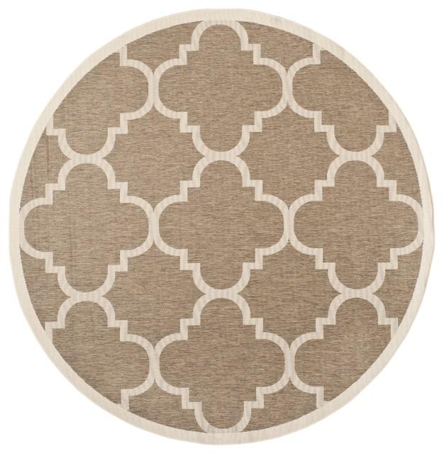 Safavieh indoor outdoor courtyard brown rug 5 39 3 round for Indoor outdoor rugs uk