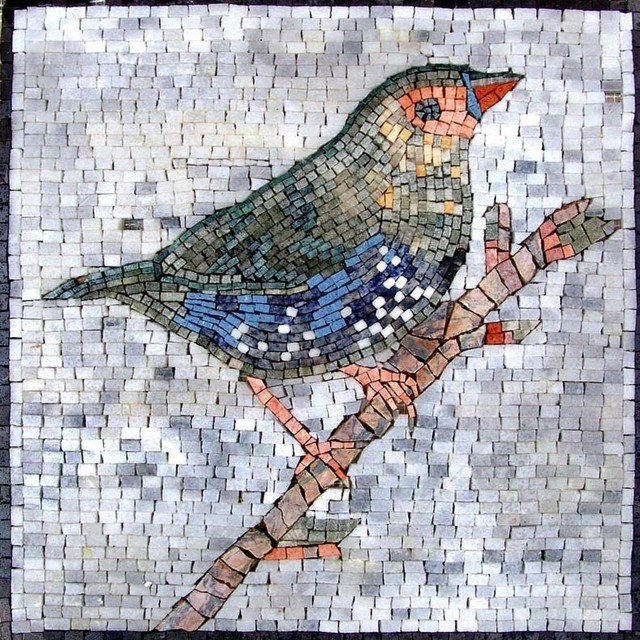 Colorful Bird Marble Mosaic Traditional Tile Murals