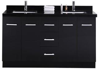 cosmo double sink vanity set espresso bauhaus look. Black Bedroom Furniture Sets. Home Design Ideas
