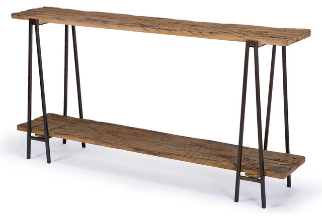Bartlett Rustic Lodge Wood Metal Rectangle Console Table - Rustic - Console Tables - by Kathy ...