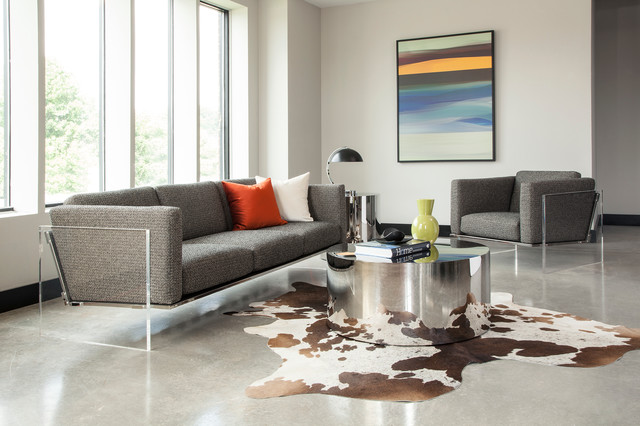 Modern living room with acrylic milo baughman get smart sofa and ...
