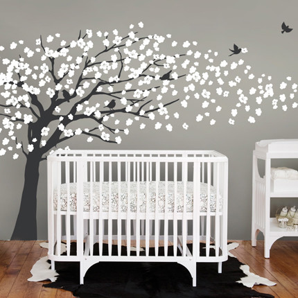 Cherry blossom tree elegant style wall decal modern for Modern nursery decor