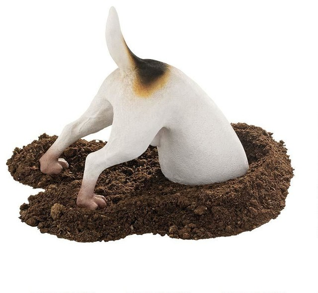 Head in a hole dog home garden yard statue sculpture for Decoration hole