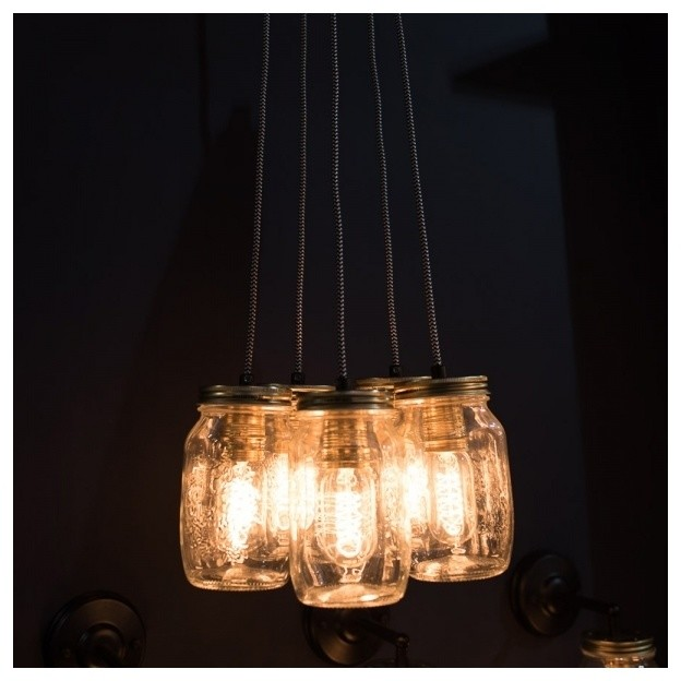 Cluster Of 5 Pendant Preserve Jar Pendant Lights