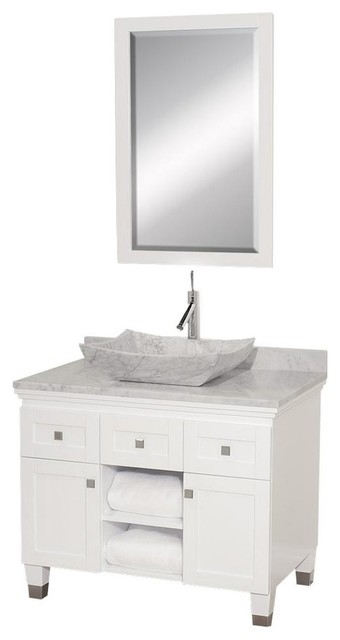 Eco friendly white carrera marble top bathroom vanity for Marble top console sink