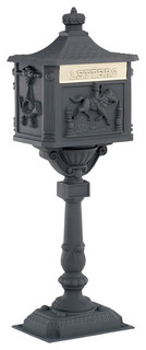 Amco Victorian Pedestal Mailbox In Black Traditional