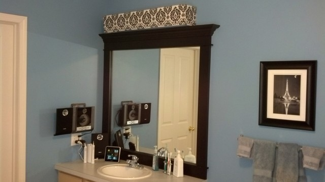 Vanity Lights Of Vegas : Custom Lampshade - Bathroom Vanity - Black & White Damask - Lampshade