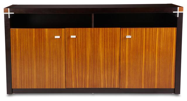 Barkley Executive Credenza - Zebra and Walnut - Contemporary - Filing Cabinets - by Zuri Furniture
